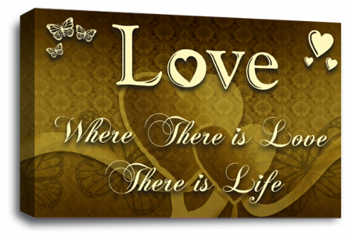 Love Quote Wall Art Picture Brown Cream Home Print